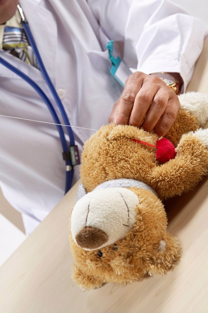 Doctor Listening To A Teddy Bear´s Heart Beat : Stock Photo