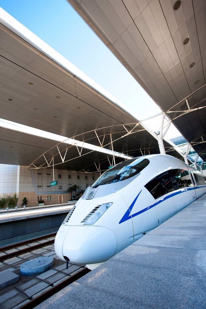 High speed train in station : Stock Photo
