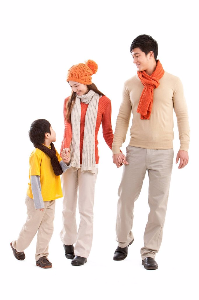 Stock Photo: 1839R-31777 Happy family walking