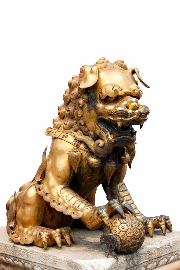 Stock Photo: 1839R-32685 Chinese lion sculpture