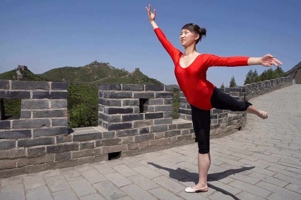 Portrait Of Gymnast On The Great Wall Of China : Stock Photo