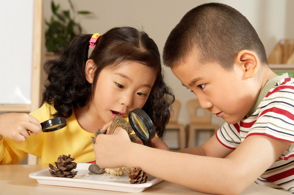 Stock Photo: 1839R-4016 Young Children With Magnifying Glasses And Seeds