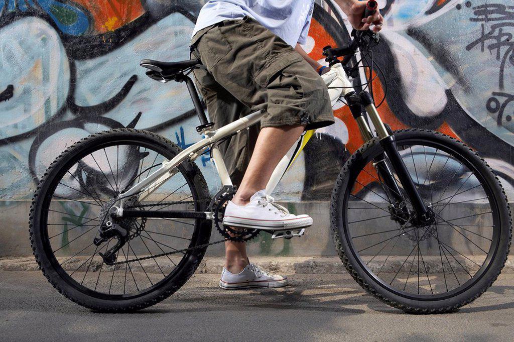 Close_Up Of Teenage Boy´s Bike : Stock Photo