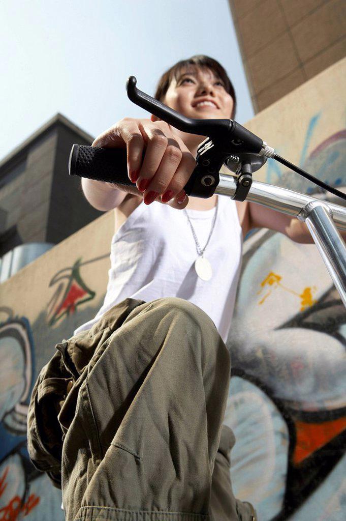 Teenage Girl On Bike : Stock Photo