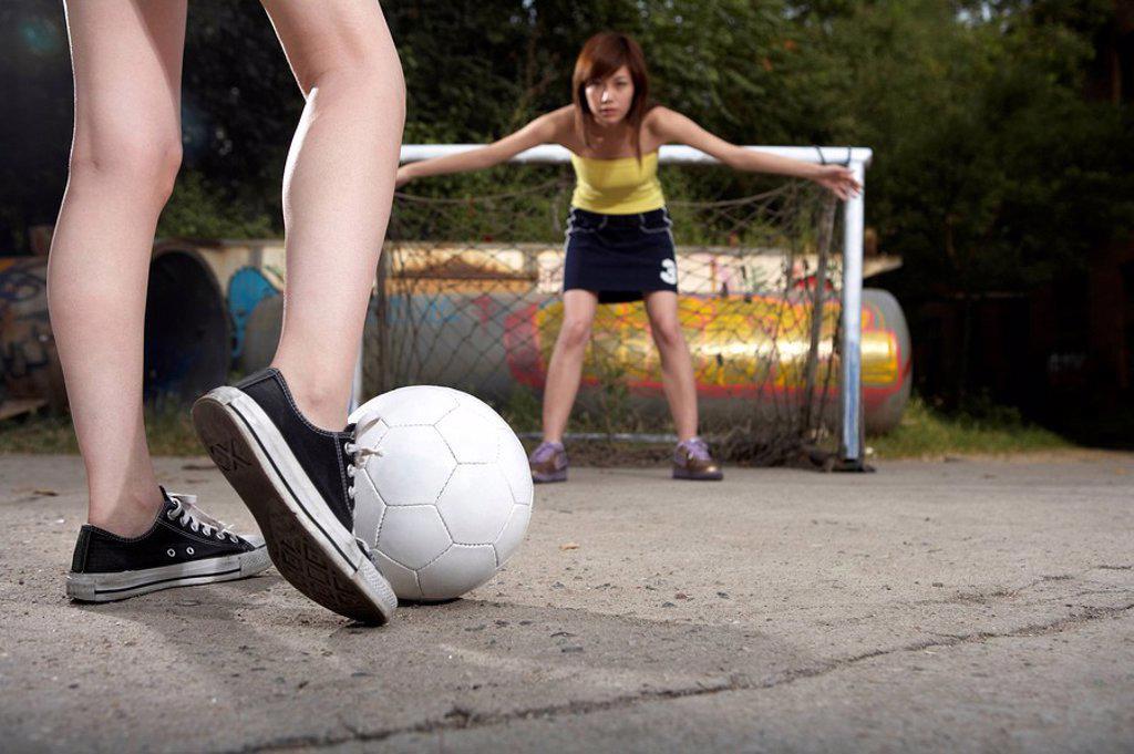 Teenage Girls Playing Soccer : Stock Photo