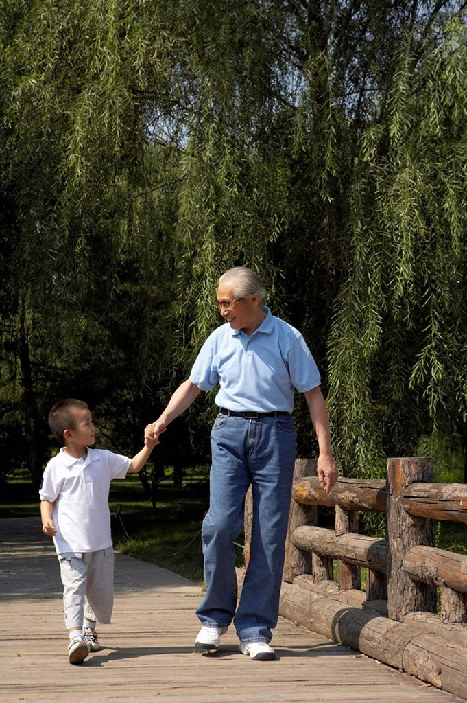 Grandfather And Granddaughter Holding Hands : Stock Photo