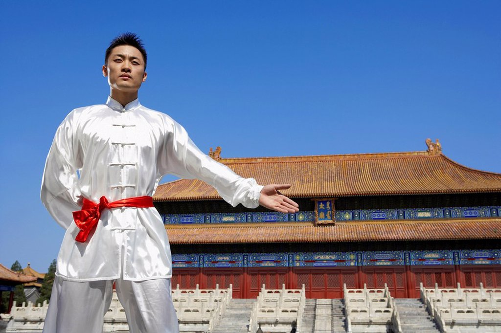 Stock Photo: 1839R-4822 Portrait Of Young Man Practicing Martial Arts