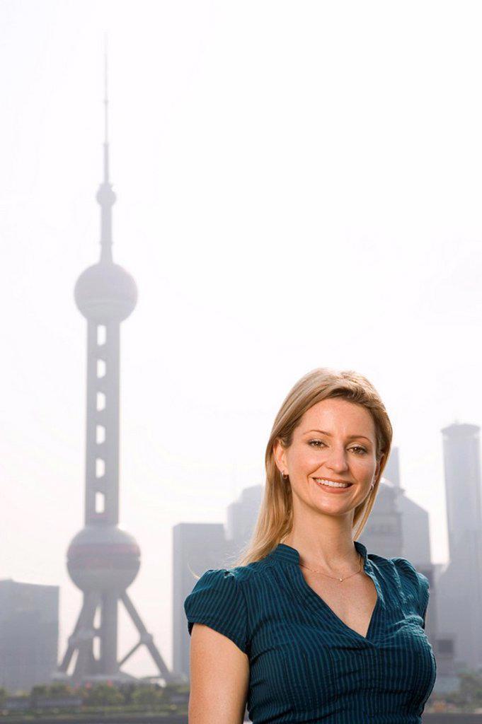 A tourist visits Shanghai : Stock Photo