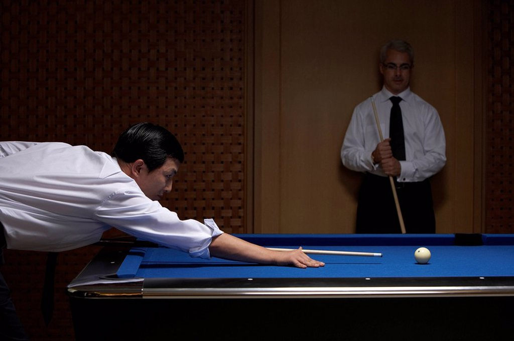 Stock Photo: 1839R-6822 Two professionals play billiards