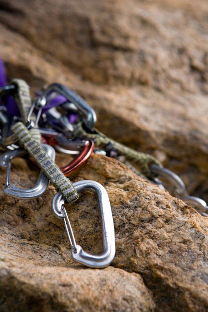 Carabineers used in rock climbing : Stock Photo