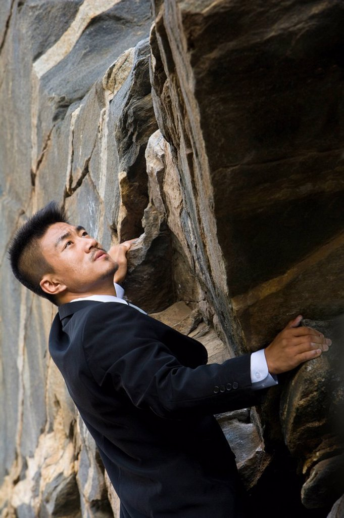 Stock Photo: 1839R-7111 A businessman climbing a rock face