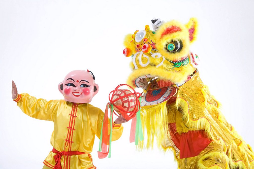 Chinese traditional lion dancing : Stock Photo