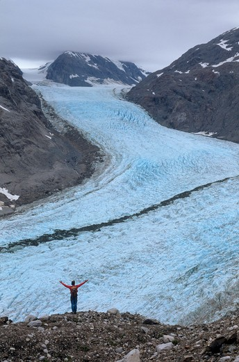 Stock Photo: 1840-12782 Overlooking Muir Glacier in the upper end of Muir Inlet in the East Arm of Glacier Bay in Glacier Bay National Park, Alaska.
