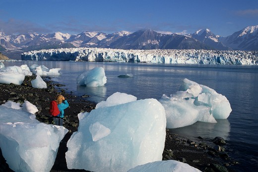 Stock Photo: 1840-12788 Hubbard Glacier in Russell Fiord east of town of Yakutat, Alaska.