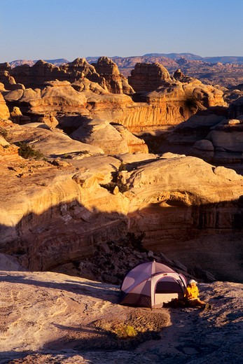 Stock Photo: 1840-12841 Camping in the Fins section in the Maze District in Canyonlands National Park, Utah.