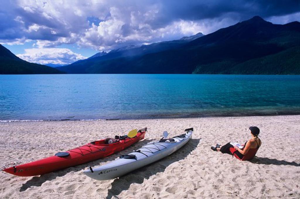 Stock Photo: 1840-12860 Kayak camp on Rainbow Falls Beach on Azure Lake in Wells Gray Provincial Park, British Columbia, Canada.
