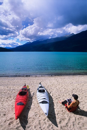Stock Photo: 1840-12861 Kayak camp on Rainbow Falls Beach on Azure Lake in Wells Gray Provincial Park, British Columbia, Canada.