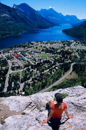 Stock Photo: 1840-12867 Middle Waterton Lake and Waterton Townsite viewed from Bear's Hump in Waterton Glacier National Park, Alberta, Canada.