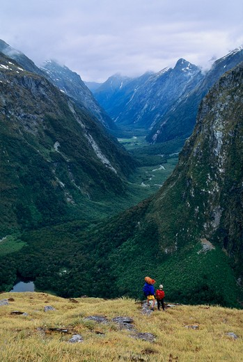 Two trekkers pause near the top of Mackinnon Pass along the Milford Track for a view down the Clinton Valley in Fiordland National Park on the South Island of New Zealand. : Stock Photo