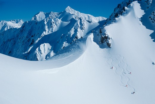 Stock Photo: 1840-12962 Helicopter skiing with Alpine Guides in the Rakaia Range in the Southern Alps west of the city of Christchurch on the South Island of New Zealand.