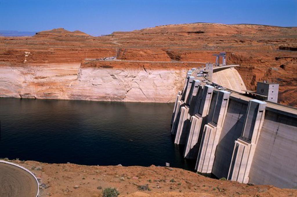 Upstream face of Glen Canyon Dam : Stock Photo