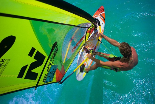 Windsurfing at Fisherman's Huts on the island of Aruba in the Caribbean Sea. : Stock Photo
