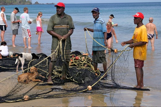 Tobago, Stone Haven Bay, Local Fishermen : Stock Photo
