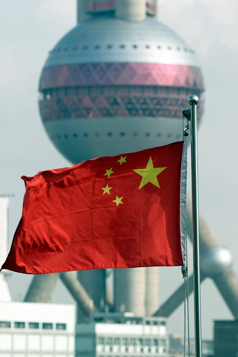 Stock Photo: 1840-13875 Shanghai, Pudong, Pearl TV Tower & Flag