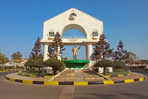 Banjul, Arch 22, Yayah Jammeh Statue : Stock Photo