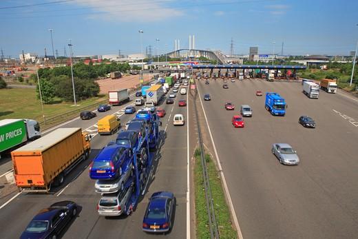 Traffic, Queen Elizabeth Bridge, Toll : Stock Photo