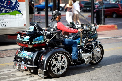Motor Bike In Downtown Galveston : Stock Photo