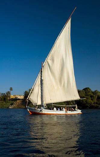 Nile River, Felucca : Stock Photo