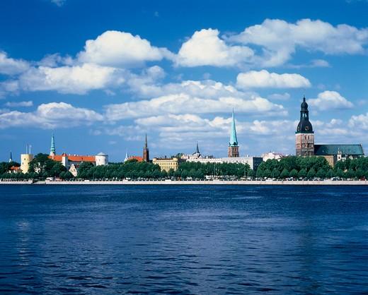 Riga, Daugava River : Stock Photo