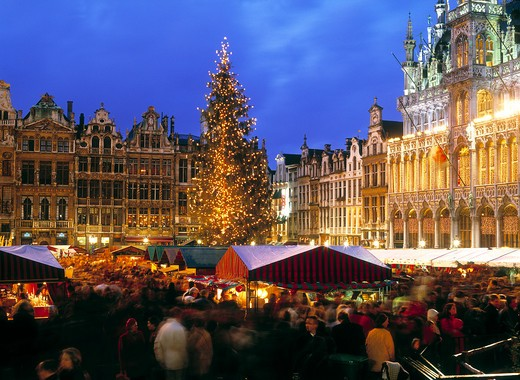 Brussels, Grand Palace, Christmas Market : Stock Photo