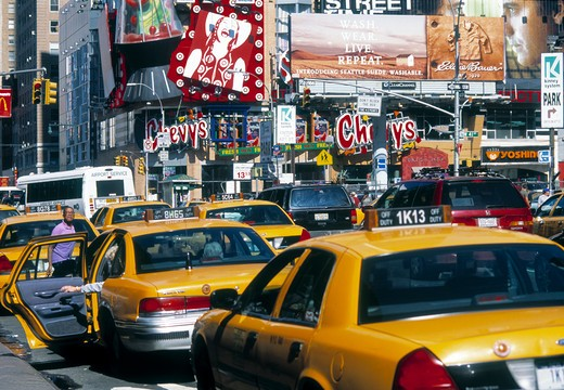 Taxis On 8th Avenue, Day : Stock Photo