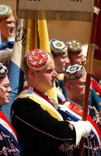 Stock Photo: 1840-18600 Rome, Ceremonial Parade, Men In Costume