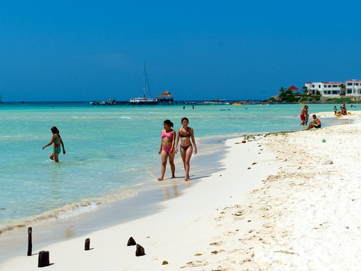 Isla Mujeres, Women Walking Along Beach : Stock Photo