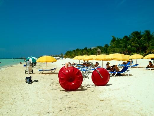 Isla Mujeres, Sunbathers On Beach : Stock Photo