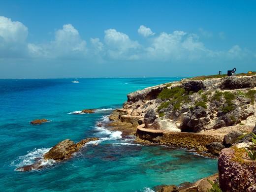 Stock Photo: 1840-19849 Isla Mujeres, Rocky Shoreline