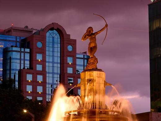 Stock Photo: 1840-19887 Paseo de la Reforma, Diana Fountain