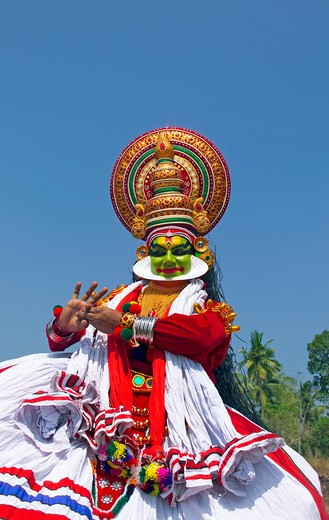 Kerala, Kathakali Dancer Performing : Stock Photo