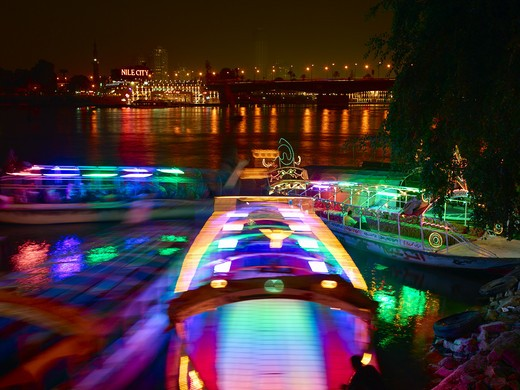 Stock Photo: 1840-21485 Excursion Boats On Nile River At Night