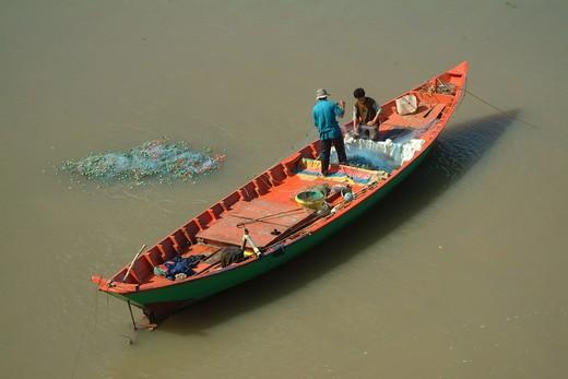 Fishermen Preparing Nets, Ha Tien : Stock Photo