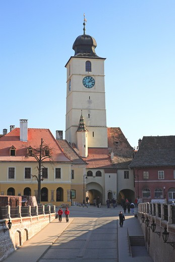 The Councillor's Tower, Piata Mica, Sibiu : Stock Photo