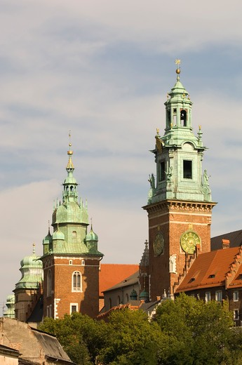Cracow, Wawel Castle, Cathedral Spires : Stock Photo