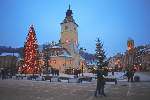 Christmas, Council Square, Brasov : Stock Photo