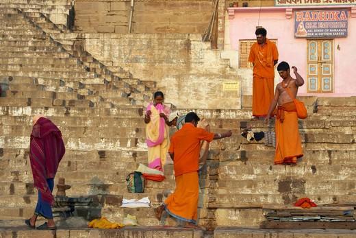 Varanasi, Hindu Pilgrims, The Ghats : Stock Photo