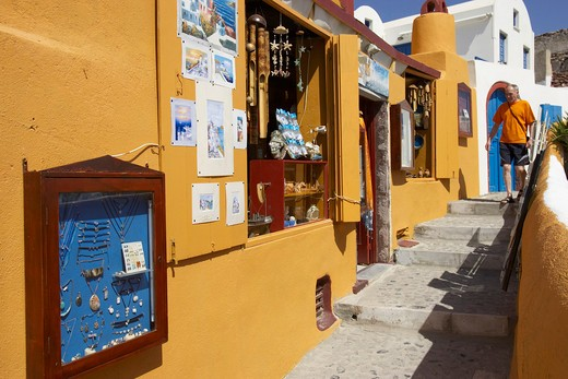 Santorini Island , Oia, Street Scene : Stock Photo