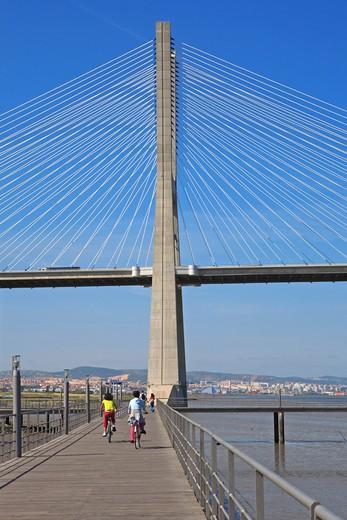 Stock Photo: 1840-22992 Lisbon, Parque Das Nacoes, Vasco Da Gama Bridge