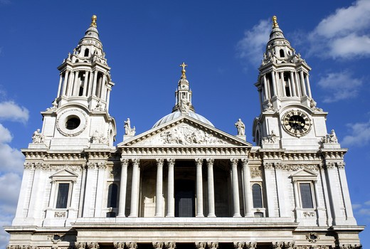 Stock Photo: 1840-23399 St Pauls Cathedral In The City Of London